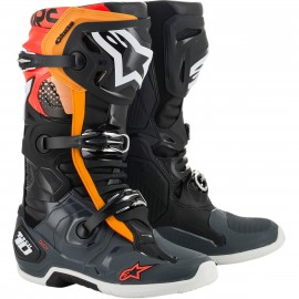 BOTTES CROSS ALPINESTARS TECH10 2020 NOIR GRIS ORANGE ROUGE