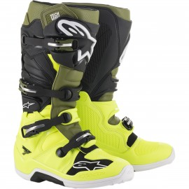 BOTTES ALPINESTARS TECH7 YELLOW FLUO / MILITARY GREEN / BLACK