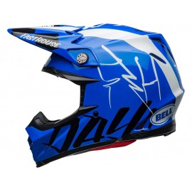 CASQUE CROSS BELL MOTO-9 FLEX FASTHOUSE DID20 2020 BLEU/BLANC