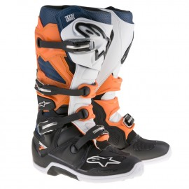 BOTTES ALPINESTARS TECH7 BLACK ORANGE BLUE WHITE DUP'MX