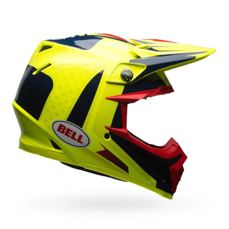 equipement casque mx bell moto 9 flex vice bleu jaune. Black Bedroom Furniture Sets. Home Design Ideas