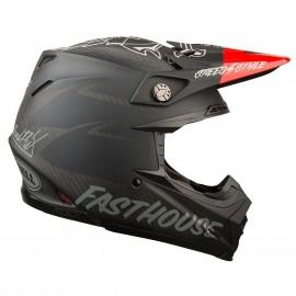 CASQUE BELL MOTO-9 FLEX FASTHOUSE MAT NOIR/ROUGE T. XS