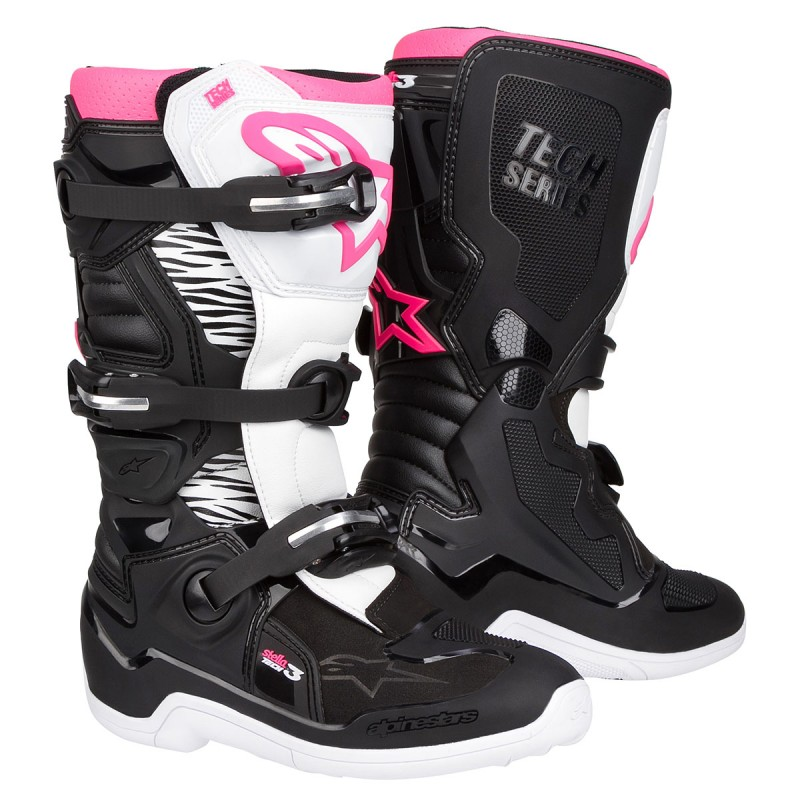 bottes mx femme alpinestars tech3 stella black white pink dupmx. Black Bedroom Furniture Sets. Home Design Ideas