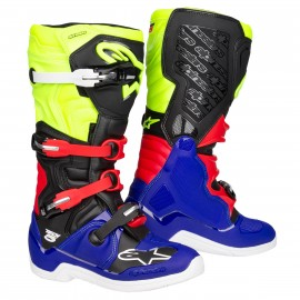 BOTTES ALPINESTARS TECH5 BLUE/BLACK/YELLOW FLUO/RED