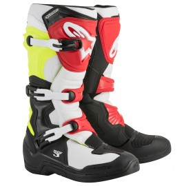 BOTTES MX ALPINESTARS TECH3 BLACK/WHITE/YELLOW FLUO/RED