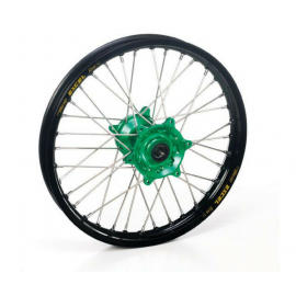 Roue arrière complète Hann Wheels 19x2.15 jante noire/moyeu vert Kawasaki KX 125 & KXF 250
