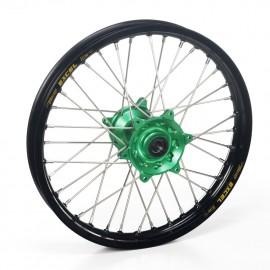 Roue arrière complète Hann Wheels 19x2.15 jante noire/moyeu vert Kawasaki KX 250 & KXF 450