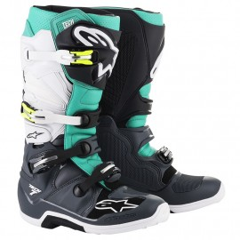 BOTTES ALPINESTARS TECH7 DARK GRAY / TEAL / WHITE