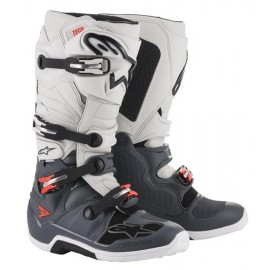 BOTTES MX ALPINESTARS TECH7 DARK GRAY LIGHT GRAY RED FLUO