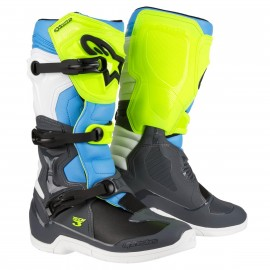 BOTTES MX ALPINESTARS TECH3 COOL GRAY / YELLOW FLUO / CYAN